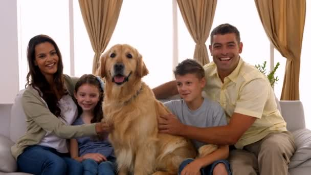 Happy Family Smiling With Their Dog Stock Video C Wavebreakmedia