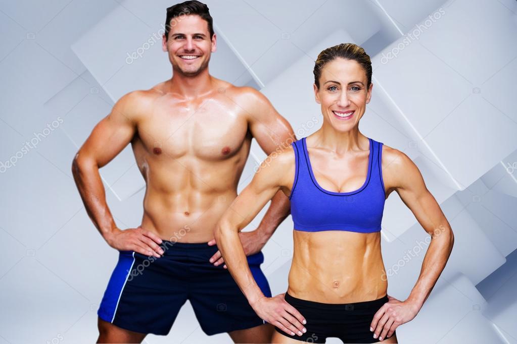 Coppia di bodybuilding contro bianco piastrelle di design u2014 foto