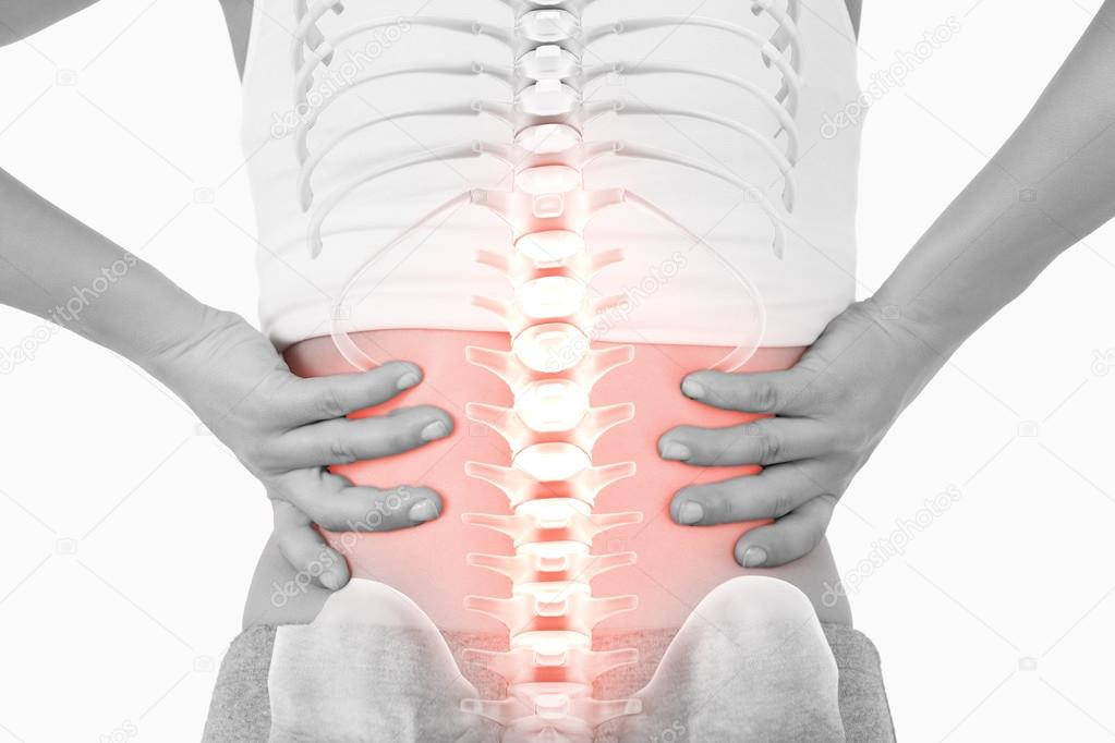 Highlighted spine of woman with back pain — Stock Photo ...