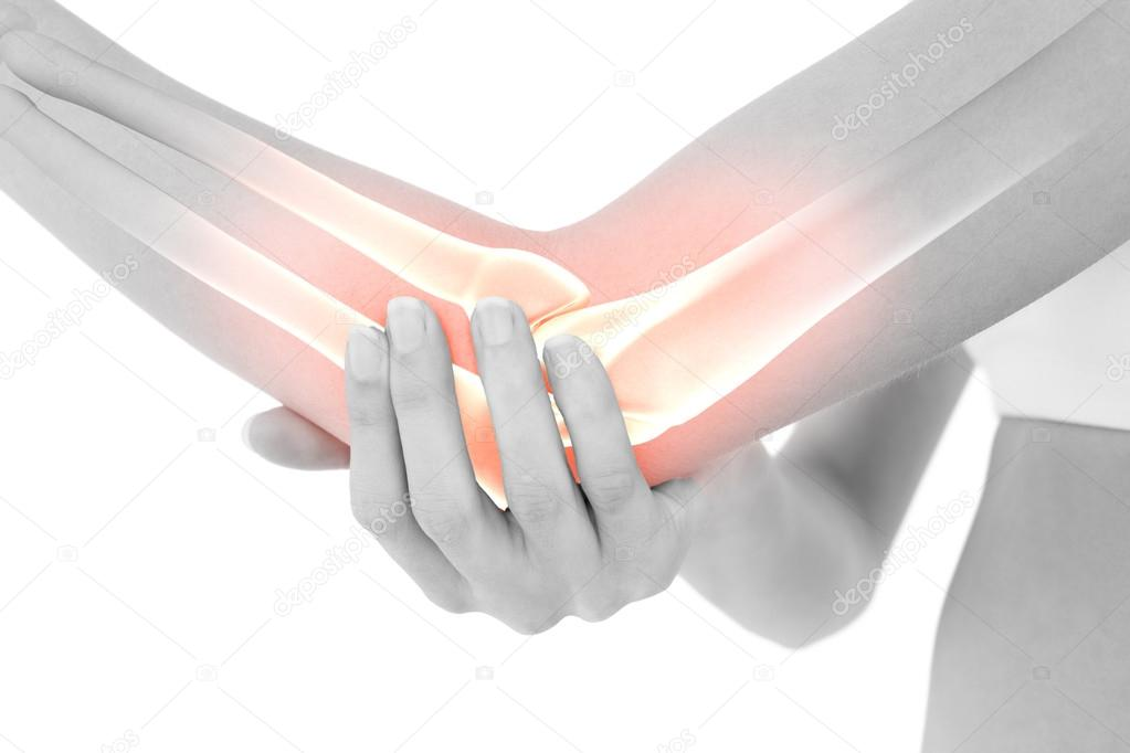 Destacó los huesos de la mujer con el dolor de codo — Foto de stock ...