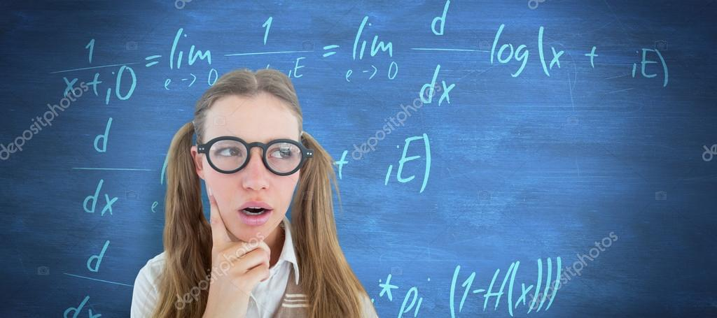 Female geeky student looking confused — Stock Photo