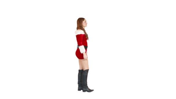 Weihnachten Mädchen Wandern und Blasen Kuss — Stockvideo ...