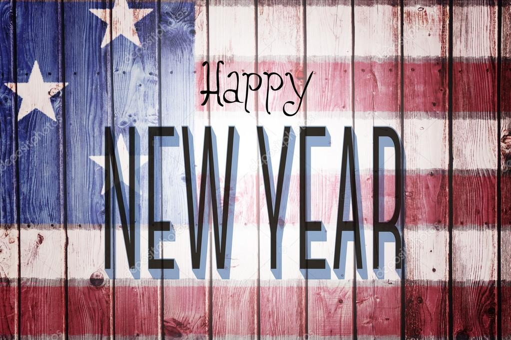 happy new year against usa flag stock photo