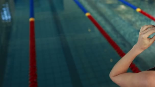 Swimmer Ready To Dive Into Swimming Pool U2014 Stock Video