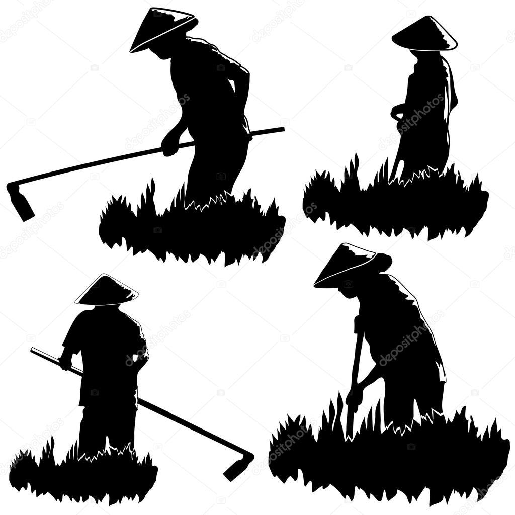 アジアの農民のフィールド上で動作します。– ストックイラスト