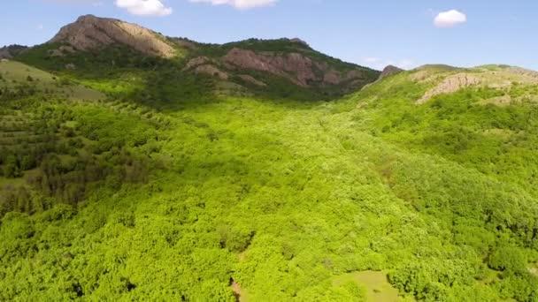 Letecký pohled na horském údolí lesnaté
