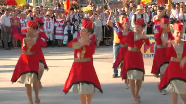 Armenian traditional dance at the International Folklore Festival on August 04, 2012 in Tulcea, Romania.