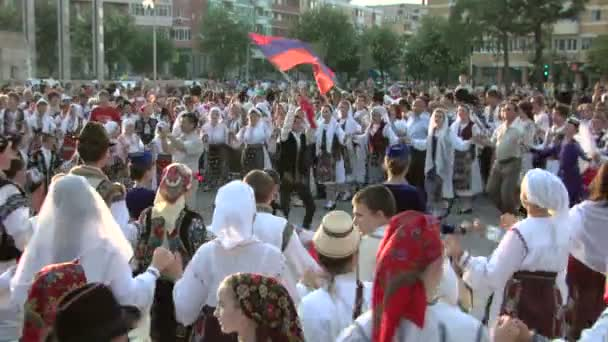 Friendship dance at the International Folklore Festival on August 04, 2012 in Tulcea, Romania.
