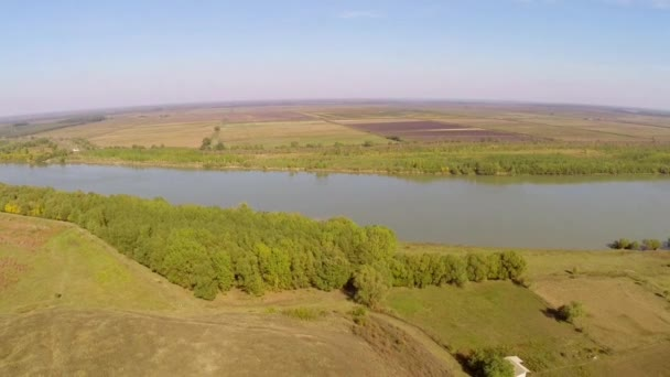 Uncovered ruins of a roman castrum along the Danube floodplain,aerial view.