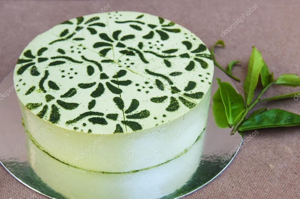 Japanischer Matcha Grun Tee Kuchen Stockfoto C Thuhuyen 98210832