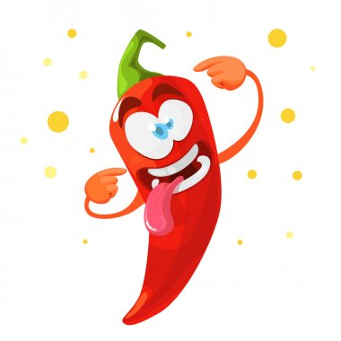 Red chilli pepper crazy cartoon character