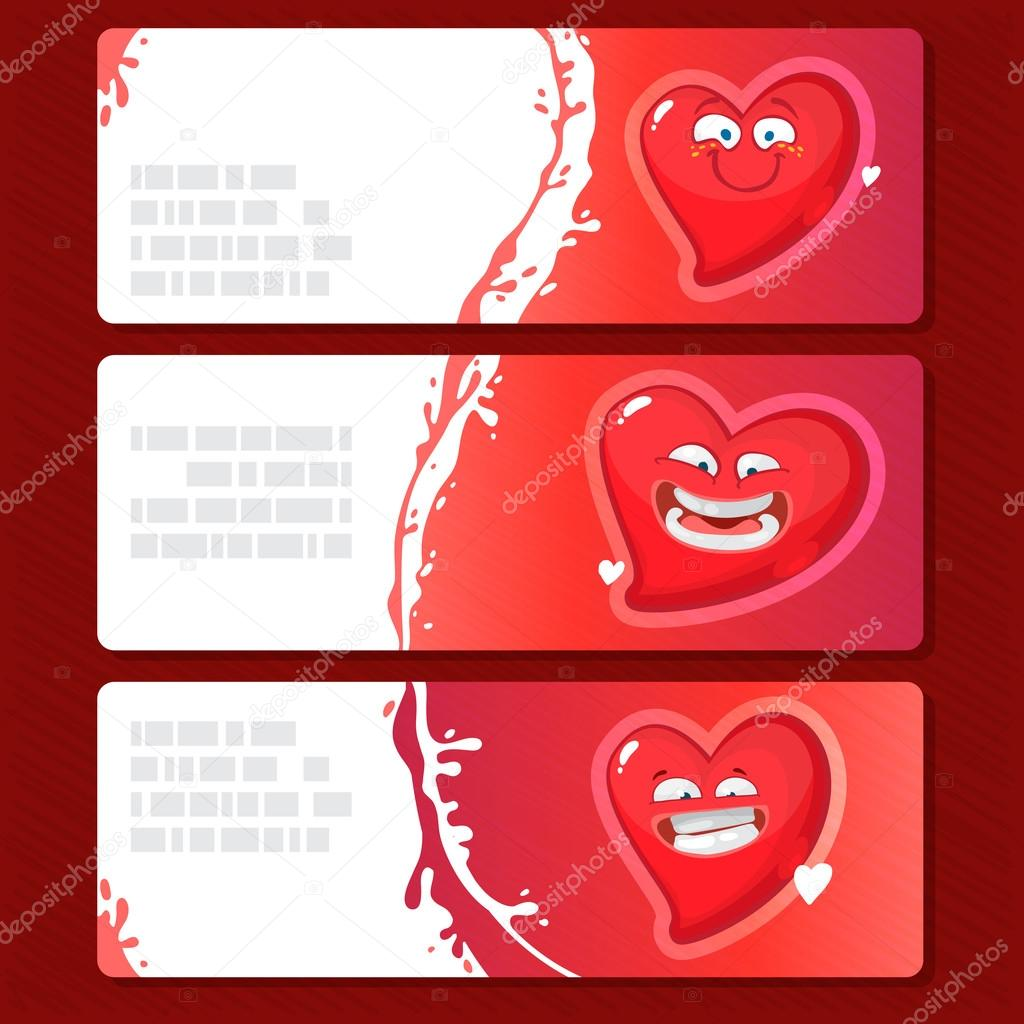 Collection Of Banners With Heart Character Vector Illustration