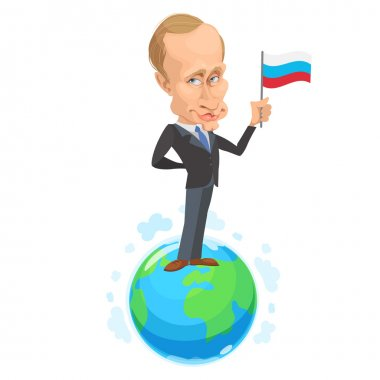 Vector illustration of a cartoon portrait of President Vladimir