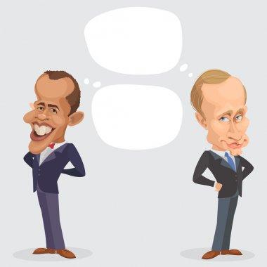 Vector illustration of a cartoon portrait of President Vladimir