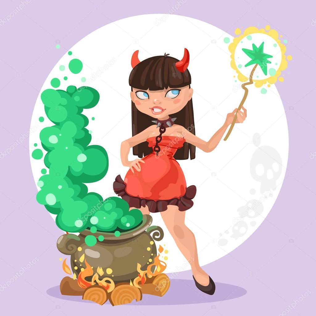 Halloween-Hexe-Teufel-Mädchen mit die Kessel der trank auf ...