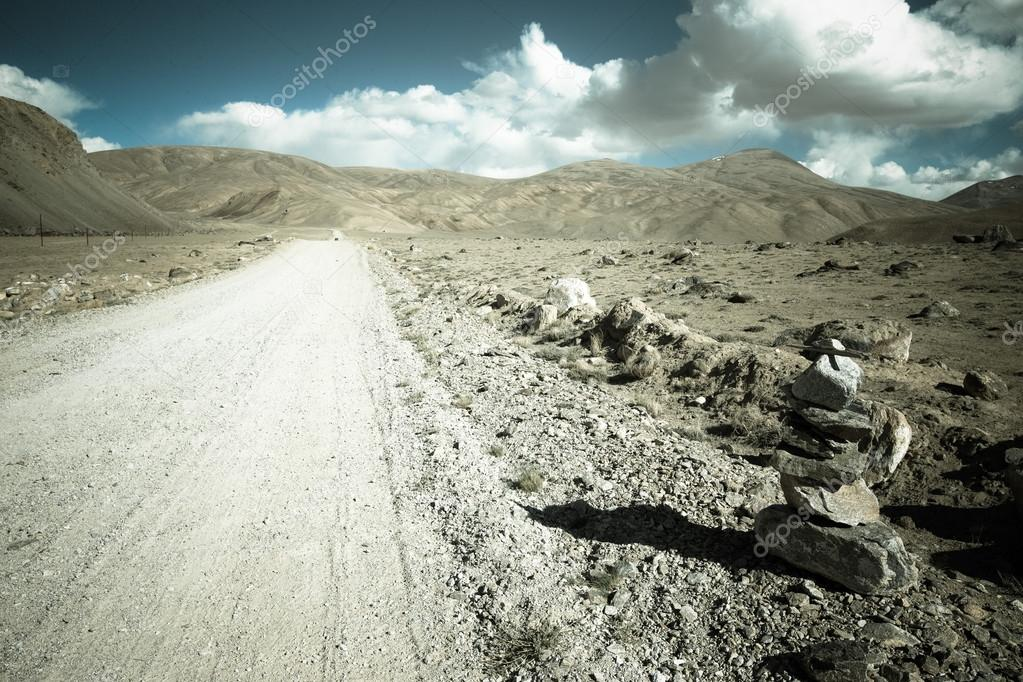 Tajikistan. Pamir highway. Road to the clouds. Toned