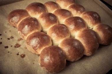 Freshly baked rolls only taken out of the oven. Toned
