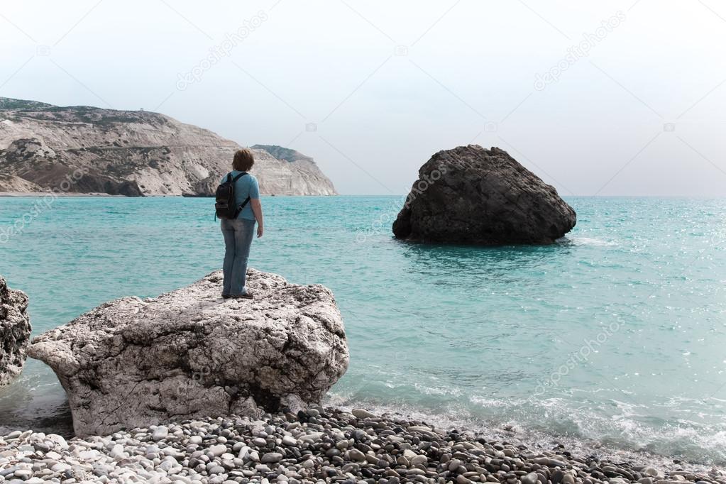 Una Persona Está Parada Sobre Una Roca Junto Al Mar