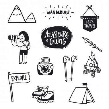 Outdoor adventures doodle set