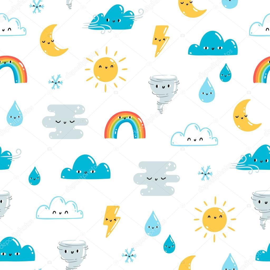 Fun weather pattern on white background