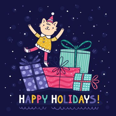 Happy holidays bright colorful card with cute kitty on presents clip art vector