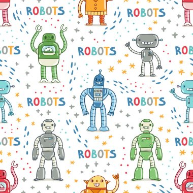 Colorful cartoon robots white background seamless pattern