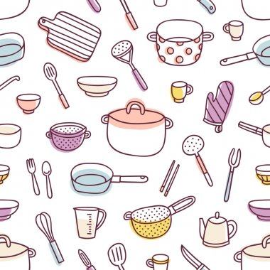 Kitchenware and cooking utensils seamless pattern
