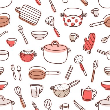 Kitchenware and cooking utensils colorful and fun doodle seamless pattern clip art vector
