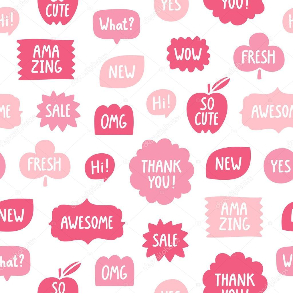 Patrón transparente de frases de color rosa sobre fondo blanco ...