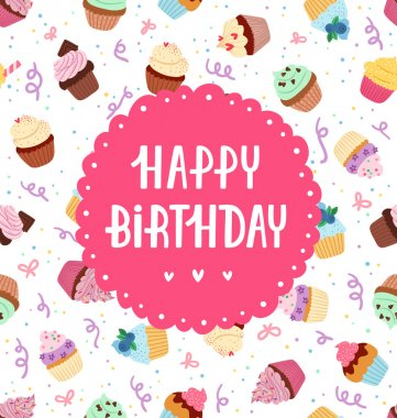 Happy birthday greeting on a cupcakes seamless pattern clip art vector