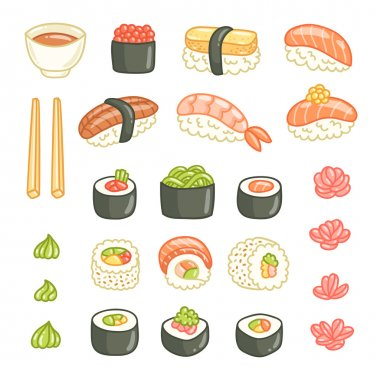 Sushi and rolls vector illustrations collection