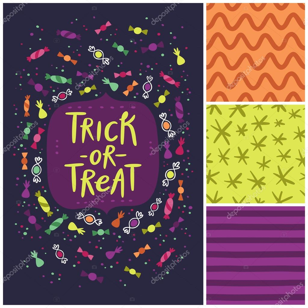 Halloween trick or treat card and abstract seamless patterns set