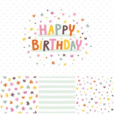 Birthday card and seamless patterns set