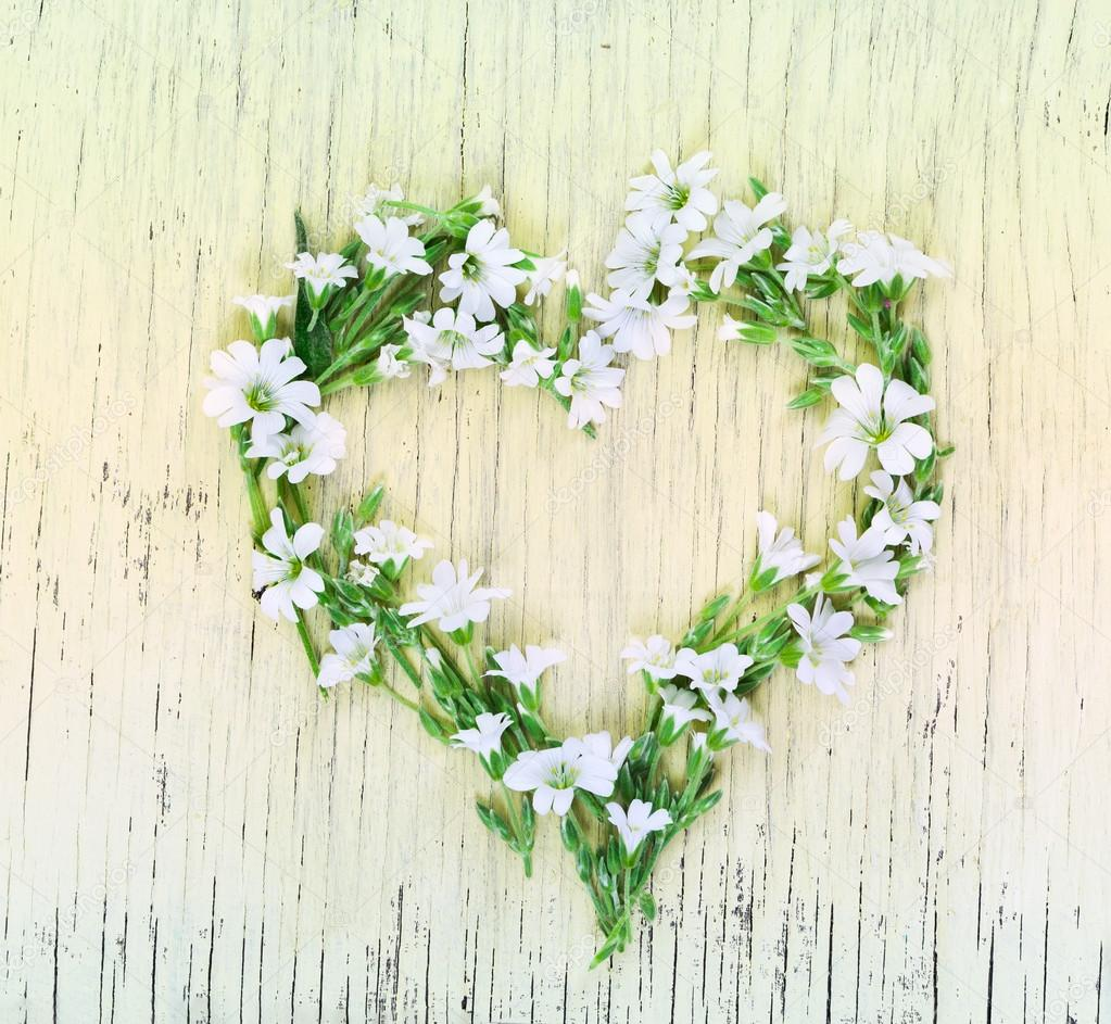 Love concept with heart symbol made of flowers