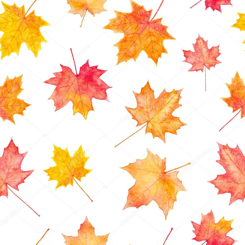 Seamless pattern of watercolor autumn maple leaves.