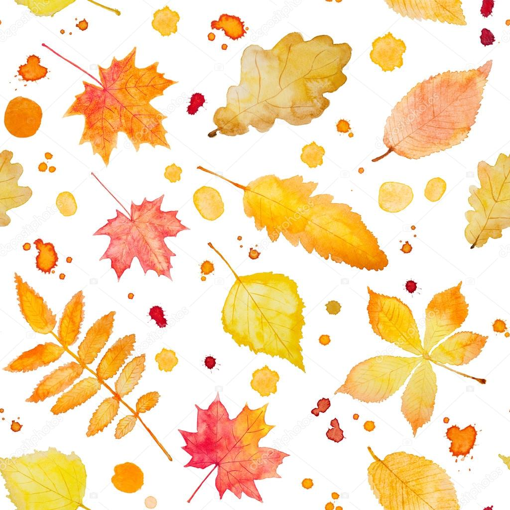 Seamless pattern with watercolor autumn leaves and splash.