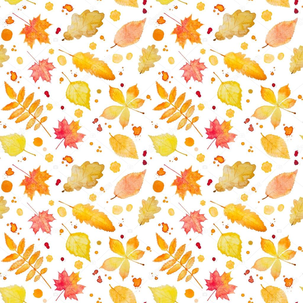 Seamless pattern with autumn leaves and splash. Watercolor paint