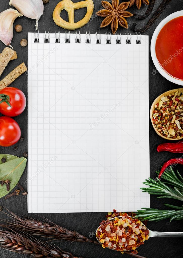 Food ingredients and recipe book stock photo natalyka 99123440 food ingredients and recipe book stock photo forumfinder Image collections