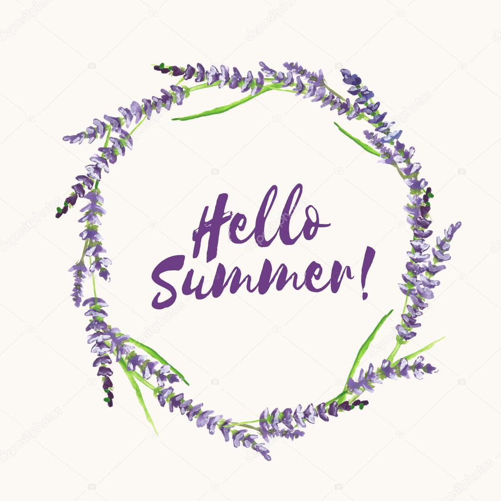 Hand painted lavender wreath, with text Hello Summer, illustration