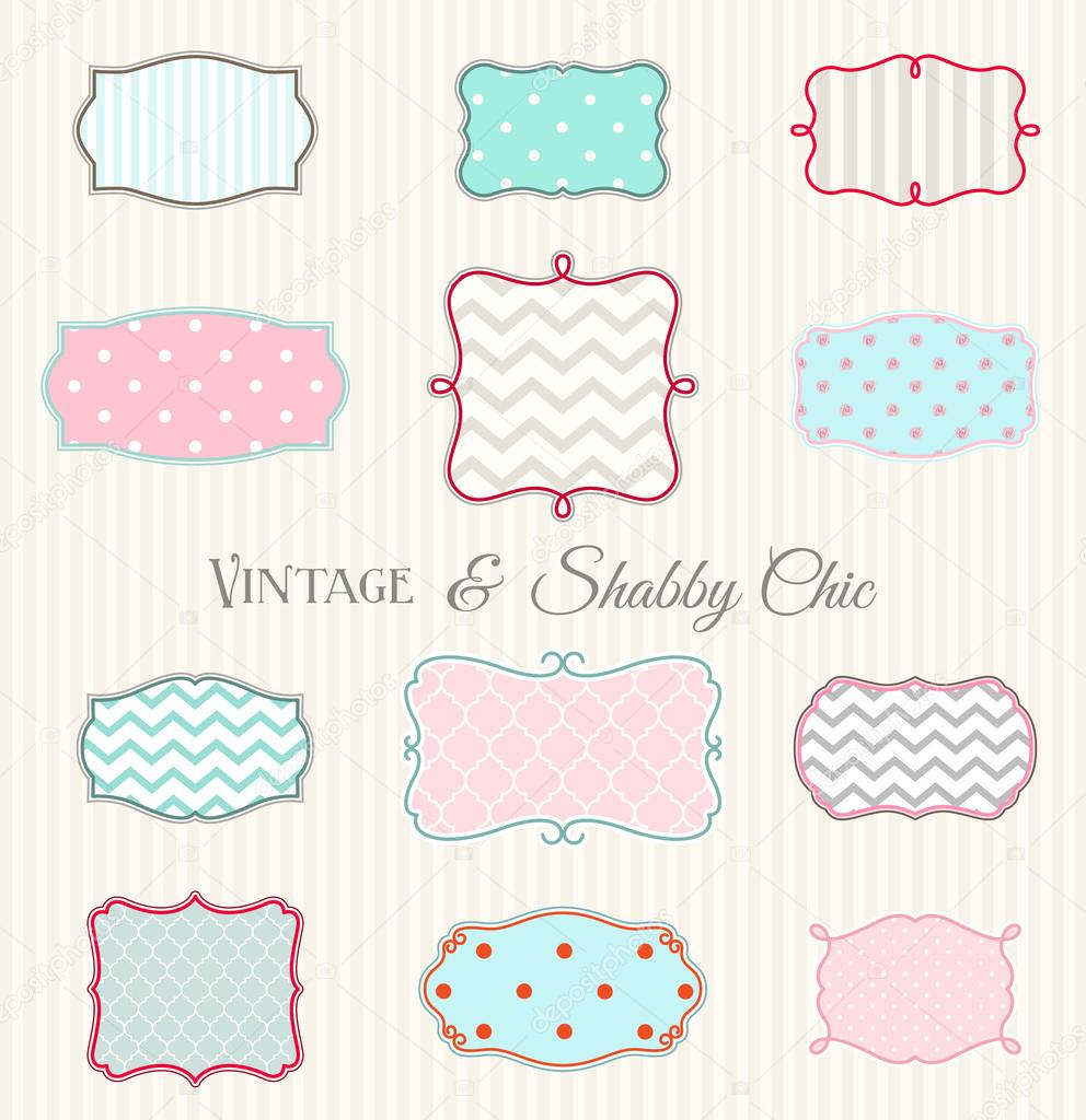 Collection Of Vintage And Shabby Chic Frames Illustration Stock