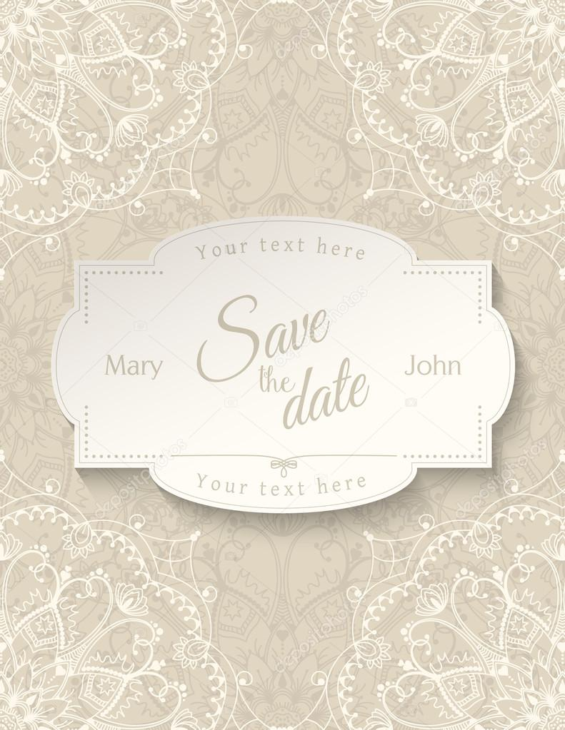 Wedding invitation card with white mandala on beige background ...
