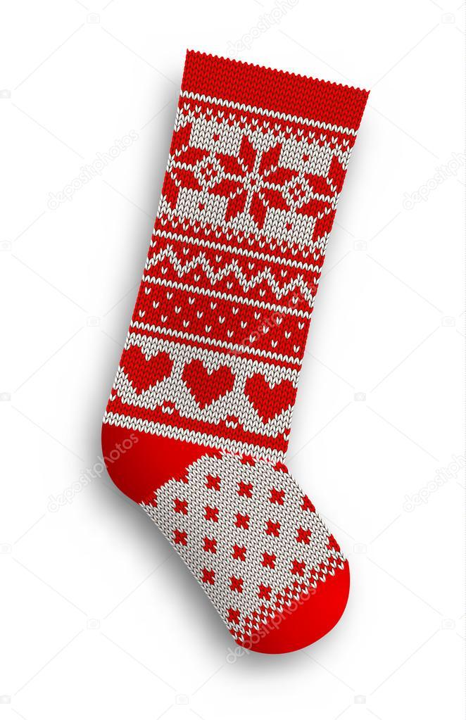 knitted christmas stocking, illustration — Stock Vector ...