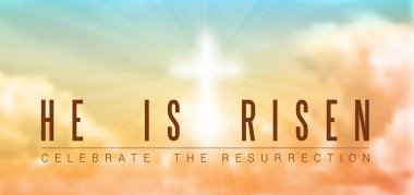 Easter christian motive,with text He is risen, vector illustration, eps 10 with transparency and gradient mesh stock vector