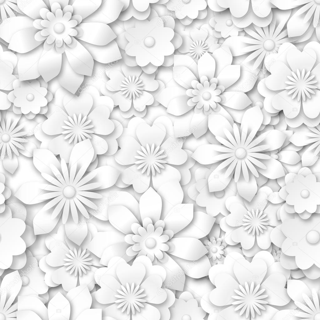 seamless pattern - white flowers with 3d effect