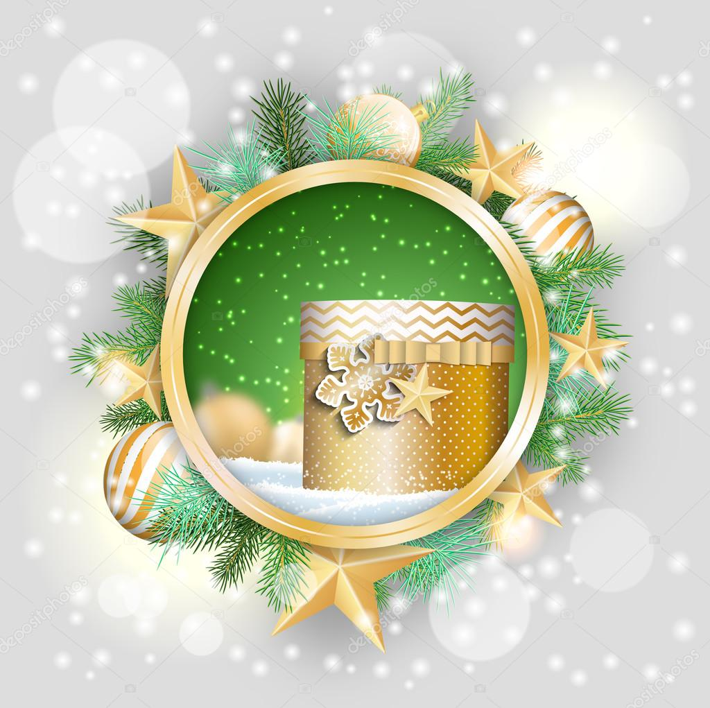 Round frame with decorative branch vector illustration stock - Christmas Motive Golden Present In Rounded Decorative Frame With Green Branches White Baubles And Stars Vector Illustration Eps 10 With Transparency And