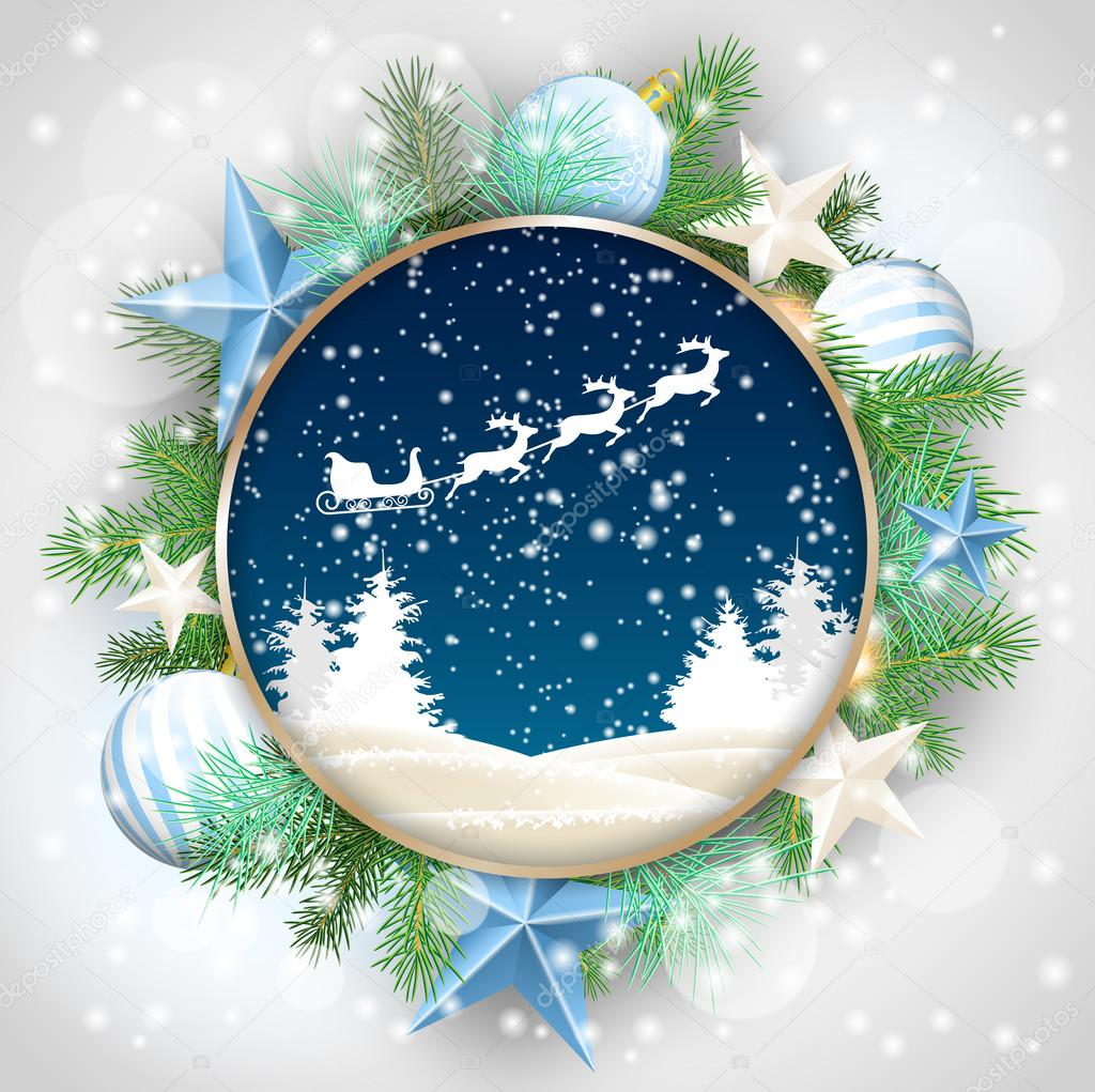 Round frame with decorative branch vector illustration stock - Christmas Motive Abstract Winter Landscape And Santas Sleigh In Rounded Decorative Frame With Green Branches White Baubles And Stars Vector Illustration