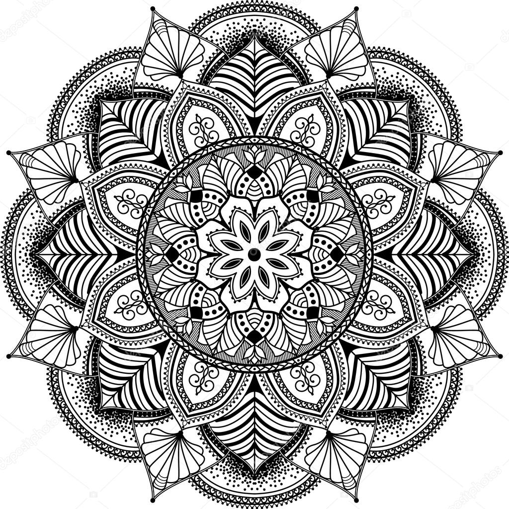 mandala inspirierte zentangle abbildung schwarz wei stockvektor anikakodydkova 94693776. Black Bedroom Furniture Sets. Home Design Ideas