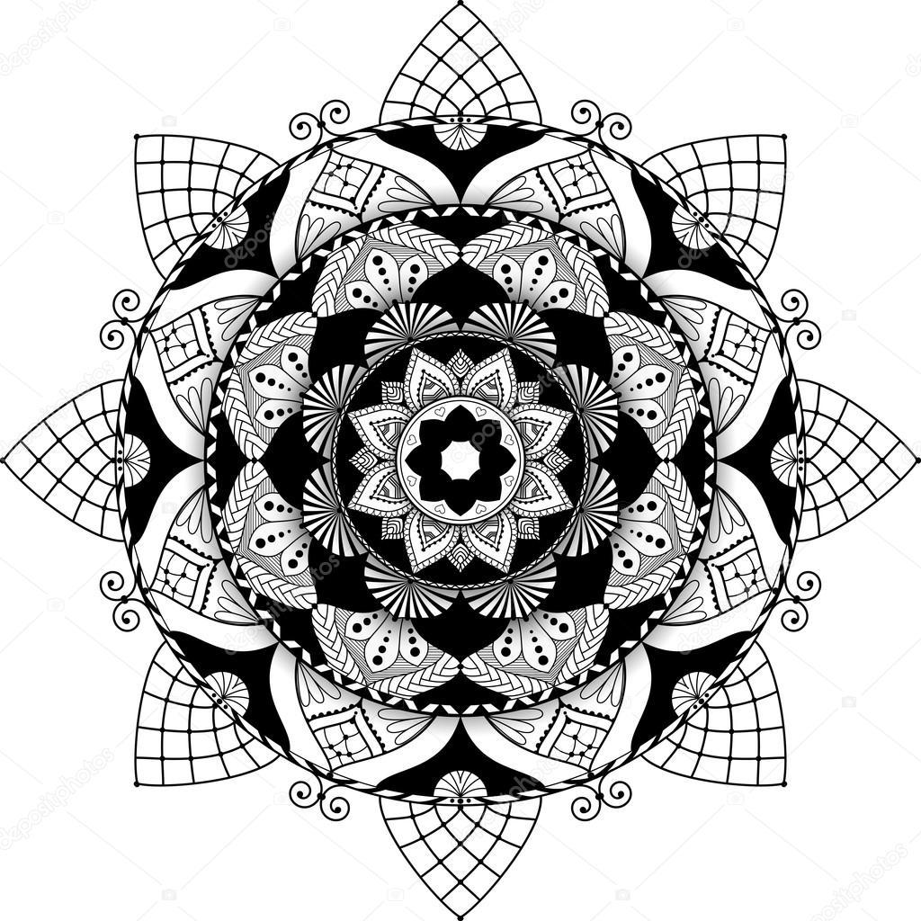 Mandala Zentangle Ilham Illüstrasyon Gölge Ile Yazılmış Stok