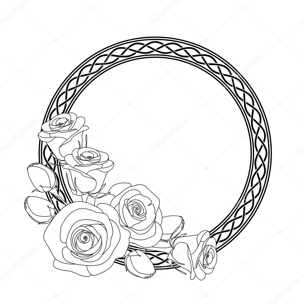 ornament with celtic motive and roses antistress coloring page