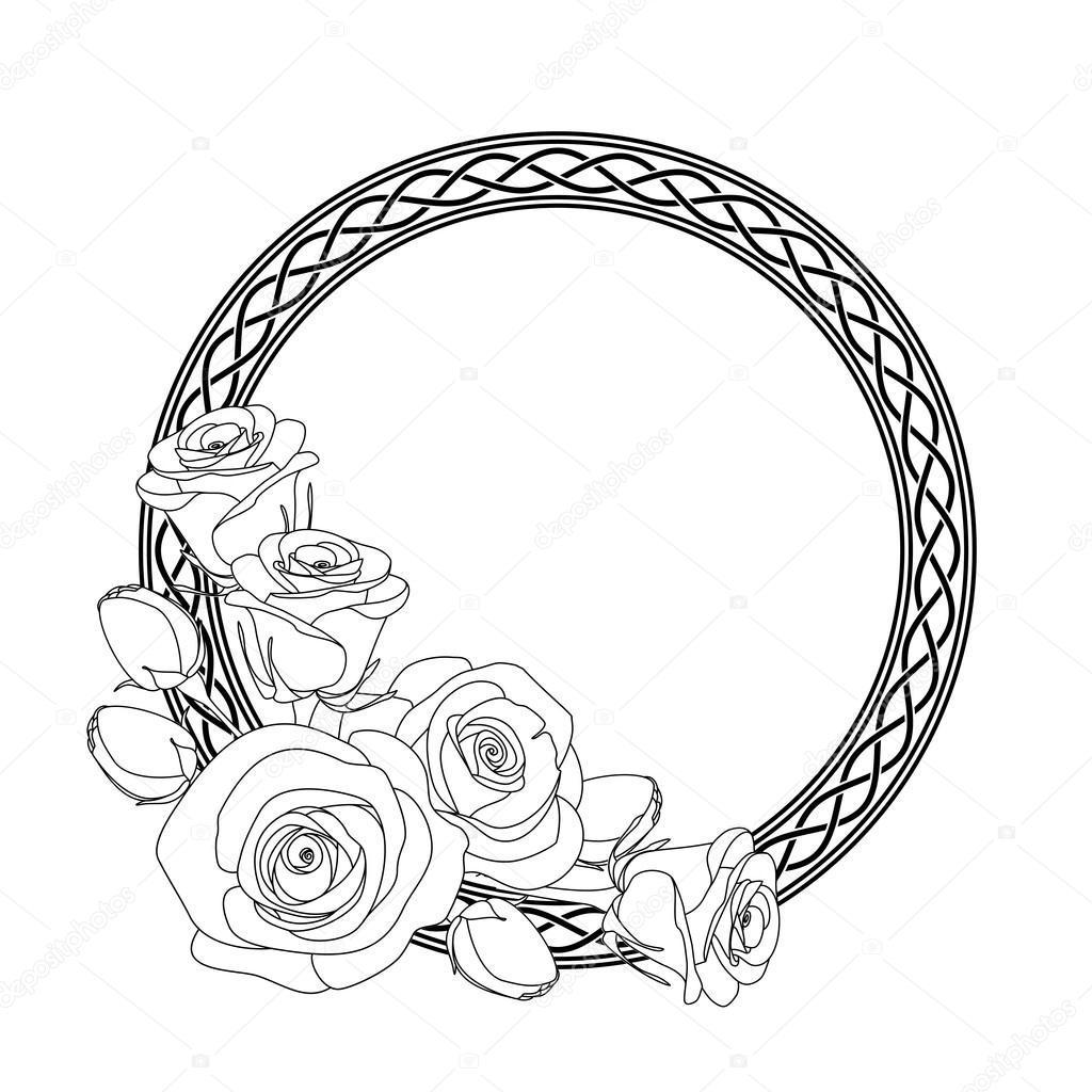Kleurplaten Keltische Mandala.Ornament Met Keltische Motief En Rozen Anti Stressprogramma
